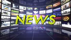 News Text in Monitors Room, Loop Stock Footage