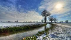 ditch with snow - time lapse - stock footage