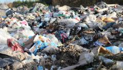 Non biodegradable garbage at landfill. Stock Footage
