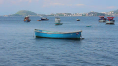 Fishing Boats parked at the Bay, Rio de Janeiro Stock Footage