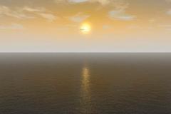Ocean Flyover Animation Stock Footage