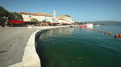 Harbour in old town Krk, Croatian Stock Footage