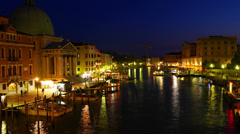 4K 4096x2304 Boat traffic on Grand Canal in Venice, Italy. Dusk time. Time-lapse Stock Footage
