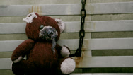 Stock Video Footage of Teddy bear hanging_horror