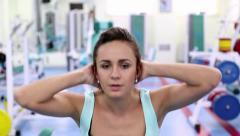 Daily Gym Work Out Routine- Young Woman_close-up Stock Footage