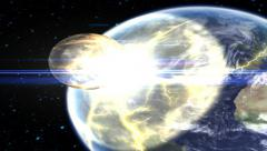 Asteroid Hitting Earth Stock Footage
