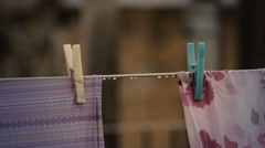 Sheets hung with clothespins Stock Footage