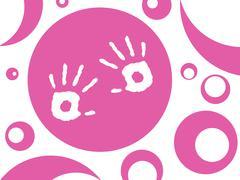 Birth of a little girl - stock illustration