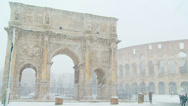 Stock Video Footage of Rome in snow 12 ( Colosseum & Arch of Constantine)
