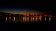 Stock Video Footage of The harbor from Portimao in Portugal by night