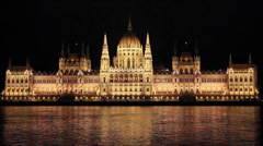Parliament in Budapest at Night (front view) Stock Footage