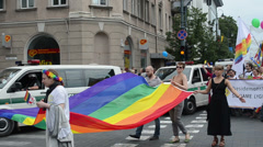Baltic gay lesbian parade for equal rights solidarity Stock Footage