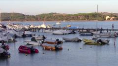 Tuscan sea, boats at anchor Stock Footage