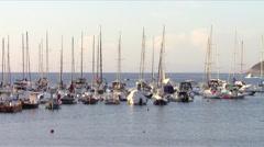 Sailboats at anchor in tuscan sea Stock Footage