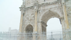 Rome in snow 15 Arch of Constantine) Stock Footage