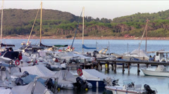 Tuscan sea, sailboats at anchor Stock Footage
