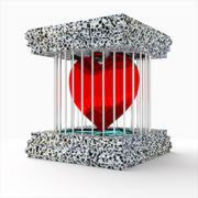 3d heart in a cage. - stock illustration