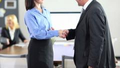 Stock Video Footage of business people doing handshake for congratulation