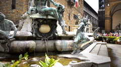Fountain of neptune, florence Stock Footage
