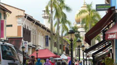 Pedestrian mall and shops near Masjid Sultan (Sultan Mosque), Singapore Stock Footage