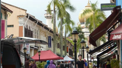 A busy street near Sultan Mosque, Singapore.(SINGAPORE NATIONAL MOSQUE--1A) Stock Footage