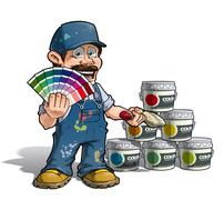 handyman - colour picking painter blue uniform - stock illustration