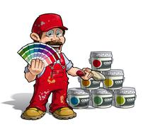 handyman - colour picking painter red uniform - stock illustration