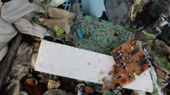 Electronic waste at garbage landfill. Stock Footage