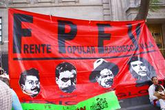 Stock Photo of protest flag with pictures of pancho villa and che guevara