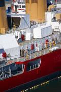 Us coast guard ship on seattle waterfront Stock Photos