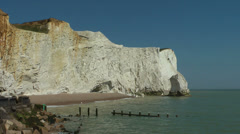 White cliffs at Seaford, near Eastbourne, United Kingdom Stock Footage