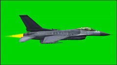 Military Aircraft  jet F16 in fly - isolated green screen footage Stock Footage