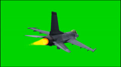 Military airplane jet F-16 in fly - isolated green screen footage Stock Footage