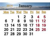 Stock Illustration of calendar for the january of 2014