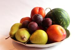 still life from the watermelon, pears, plum - stock photo