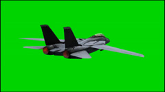 Military jet Airplane F-14 in fly - isolated green screen footage Stock Footage