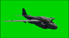 Jet Aircraft Grumman A-6 Intruder in fly - isolated green screen footage Stock Footage
