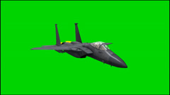 Jet Airplane F-15 in fly - isolated green screen footage Stock Footage