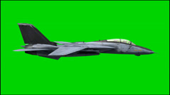 Jet Airplane F-14 in fly - isolated green screen footage Stock Footage