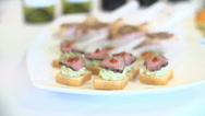 Stock Video Footage of Selection of Canapes