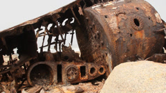 Machine details of ship wreck, South Africa 12 Stock Footage