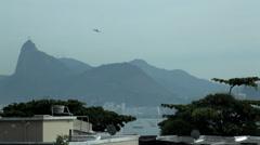 Rio de Janeiro Christ view with airplane Stock Footage