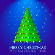 christmas greeting card abstract christmas tree - stock illustration