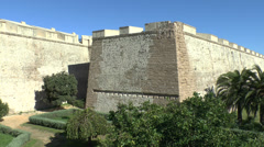 Section of the city walls in the old town area of Cadiz, Andalusia, Spain. Stock Footage