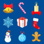 set of christmas decorations - stock illustration