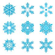 set of blue snowflakes on white - stock illustration