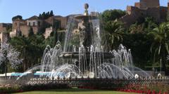 Malaga Fountain Stock Footage