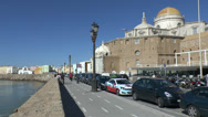 Stock Video Footage of The Campo del Sur promenade in Cadiz, Andalusia, Spain.