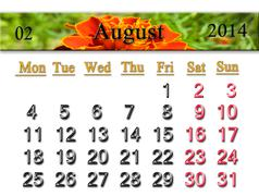 Calendar for the august of 2014 year with flower Stock Illustration