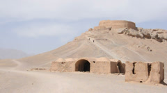 Tower of silence and ancient structures near Yazd, Iran Stock Footage